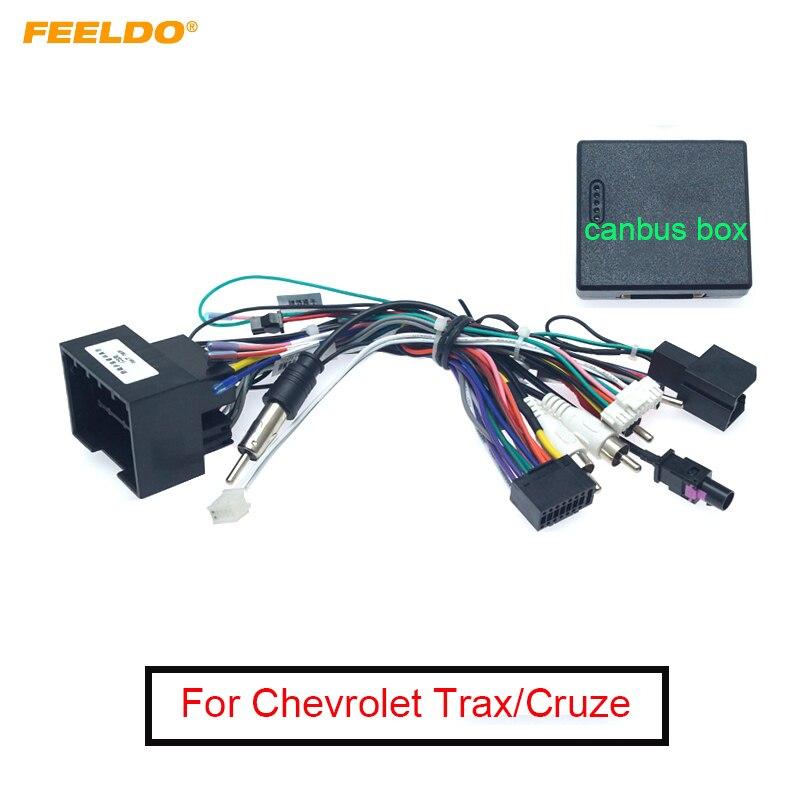 Reproductor multimedia de Radio FEELDO para coche, arnés de Cable Android de 16 pines con caja Canbus para Chevrolet Cruze Trax Aveo Buick Regal, Cable de alimentación