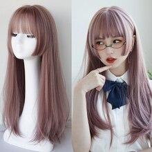 Allaosify-Peluca de Lolita larga y recta sintética con flequillo para mujer, pelo Natural negro y morado de varios colores, Cosplay, Anime