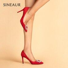 SINEAUR  Women Shoes 2021 Designer Crystal Buckle Red Pumps Super High-Heel Sexy Fashion Thin Heels