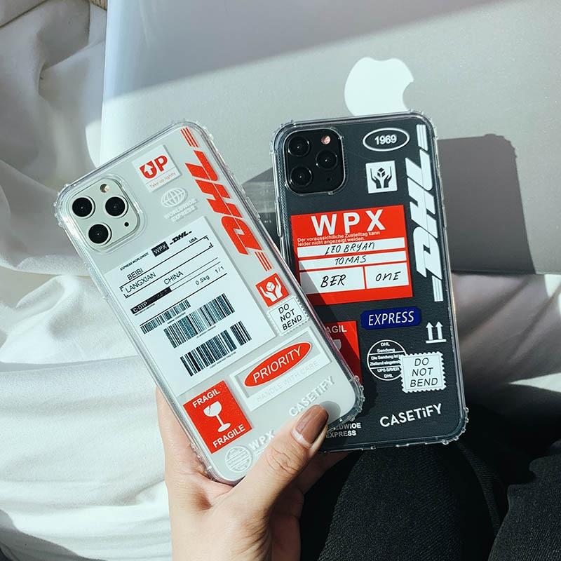 Funda para iphone 11 11Pro Max Personality label código de barras DHL funda blanda transparente para iphone X XR XS MAX 7 8 Plus contraportada