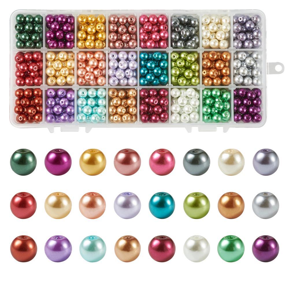 6mm misturou 24 cores pérolas de pérola de vidro redondas pearlized para fazer jóias diy buraco 1mm; cerca de 1680 pces/912 pçs/caixa