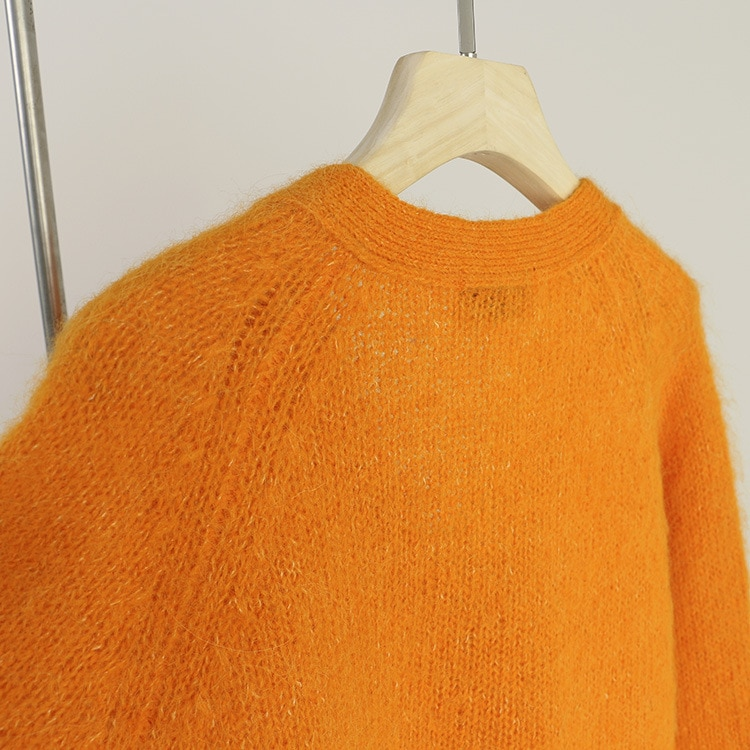SHUCHAN Loose SWEATER WOMEN 40% Mohair Women Cardigan High Street Orange Single Breasted Knit Fall Clothes for Women enlarge