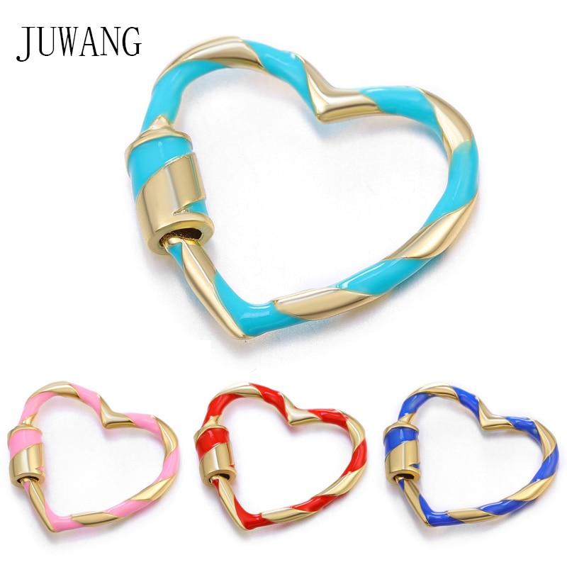 Accesorios de joyería de moda JUWANG, ganchos de sujeción de estilo de corazón de colores, cierres de espiral de tornillo para fabricación de encajes hechos a mano DIY