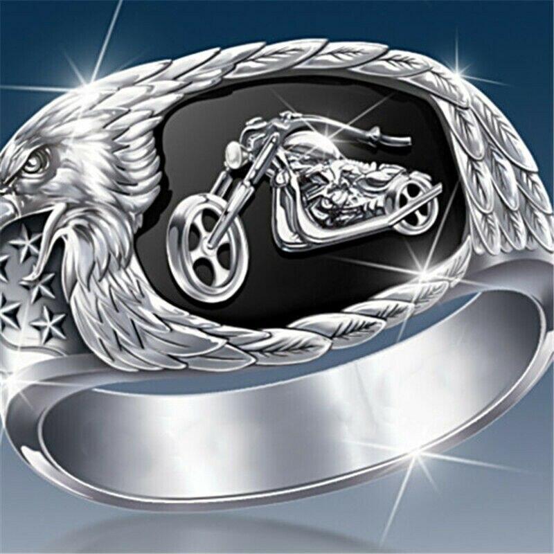 Moda águia galope motocicleta anel masculino punk banda de casamento anéis de dedo para as mulheres moderno casamento jóias z5p797
