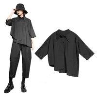 original design 2020 new spring autumn women shirt fashion hip hop style asymmetric loose shirt casual women tops