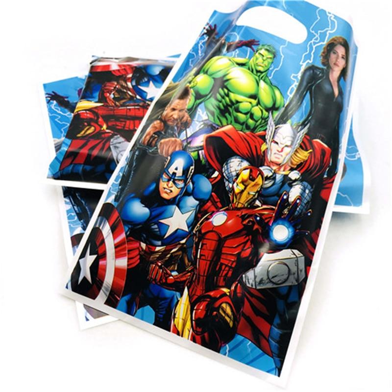 10pcs/bag Avengers Gift Bag Cartoon Theme Party Favors Kids/Girls Happy Birthday Decoration Theme Party Supplies  Festival