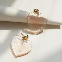 new pink simple love earrings sweet romantic heart earrings for women girls fashion jewelry