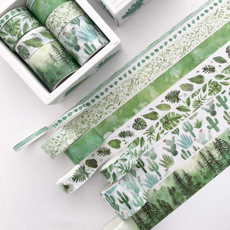 8 Rolls/set Adhesive Masking Tape Set Green Leaves Cactus Flamingo Creative Washi Tapes DIY Scrapbooking Sticker Decorative Tape