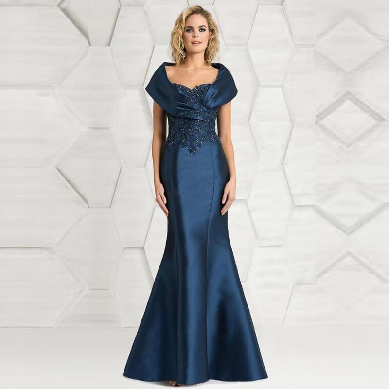 De la madre del vestido de novia formal sirena azul hombro de...