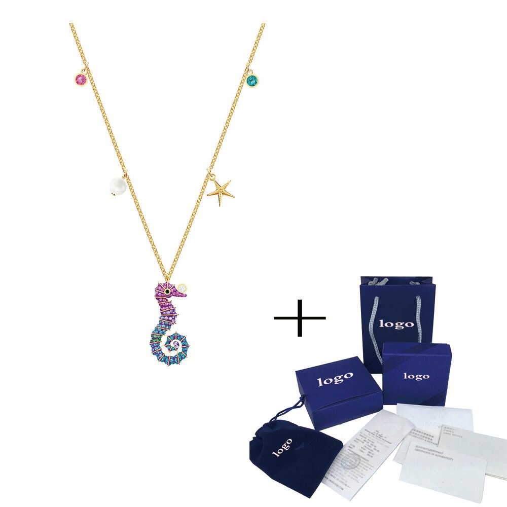 2020 SWA accesorios de moda bonito y dulce COLLAR COLGANTE de caballo de mar brillante decoración collar de clavícula femenina
