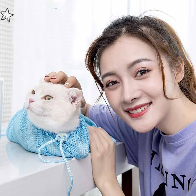 Aapet, 1 unidad, bolsa de aseo de gato, equipo de limpieza de mascotas ajustable, bolsa de malla para Bolsa de lavado de gato o ducha, bolsas para recortar uñas de Mascota