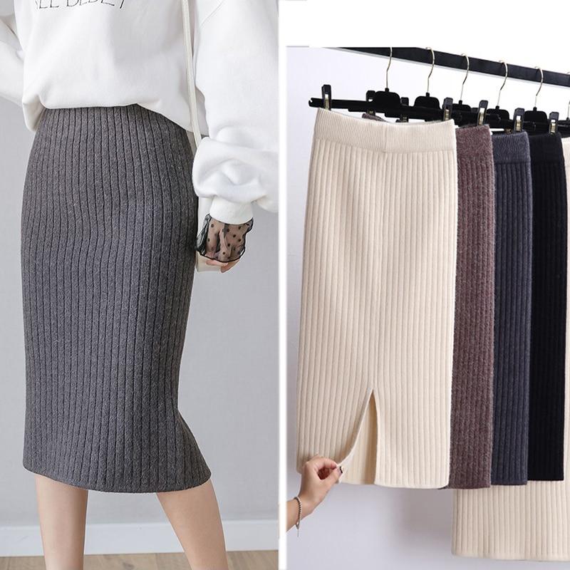 2020 Women Office Skirt Spring autumn  Warm Knitted Black Pencil Skirts Ladies High Waist Elegant Long Skir Party Club Skirt