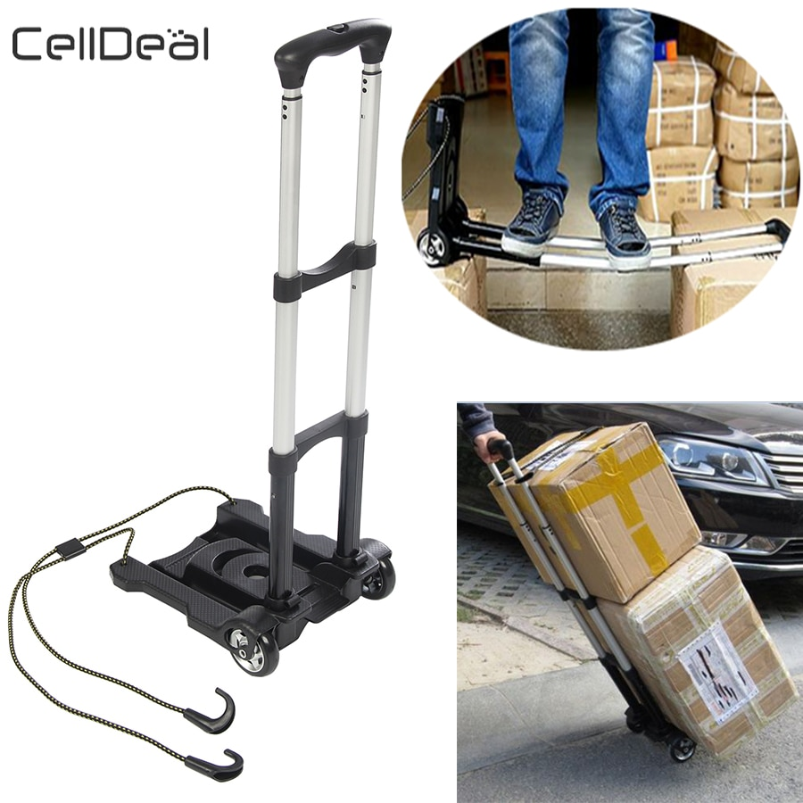 35kg Heavy Duty Foldable Hand Sack Wheel Trolley Folding Truck Barrow Cart Travel Luggage Shopping Cart Portable Home Use