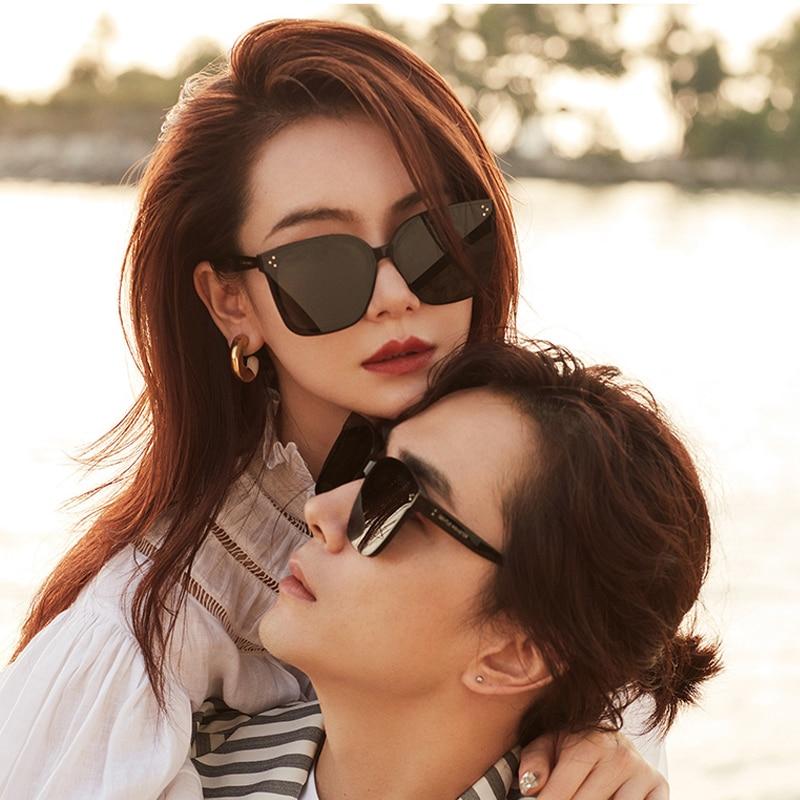 2020 Korea Brand GENTLE Her Sunglasses Big Square Cat eye Acetate Polarized  UV400 women men with Original Packaging