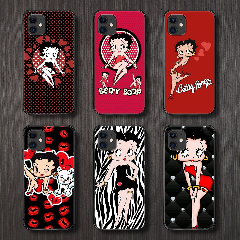 Betty boop marca de moda dos desenhos animados caso telefone capa casco para o iphone 5 5S se 2 6s 7 8 plus x xs xr 11 pro max preto prime 3d