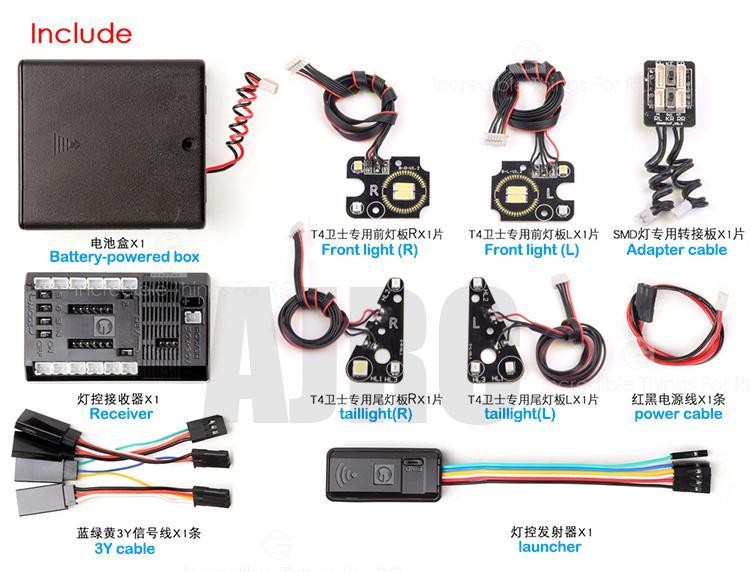 TRAXXAS TRX-4 Defender wireless Bluetooth linkage lights headlights / daytime running lights / turning lights / reversing lights enlarge