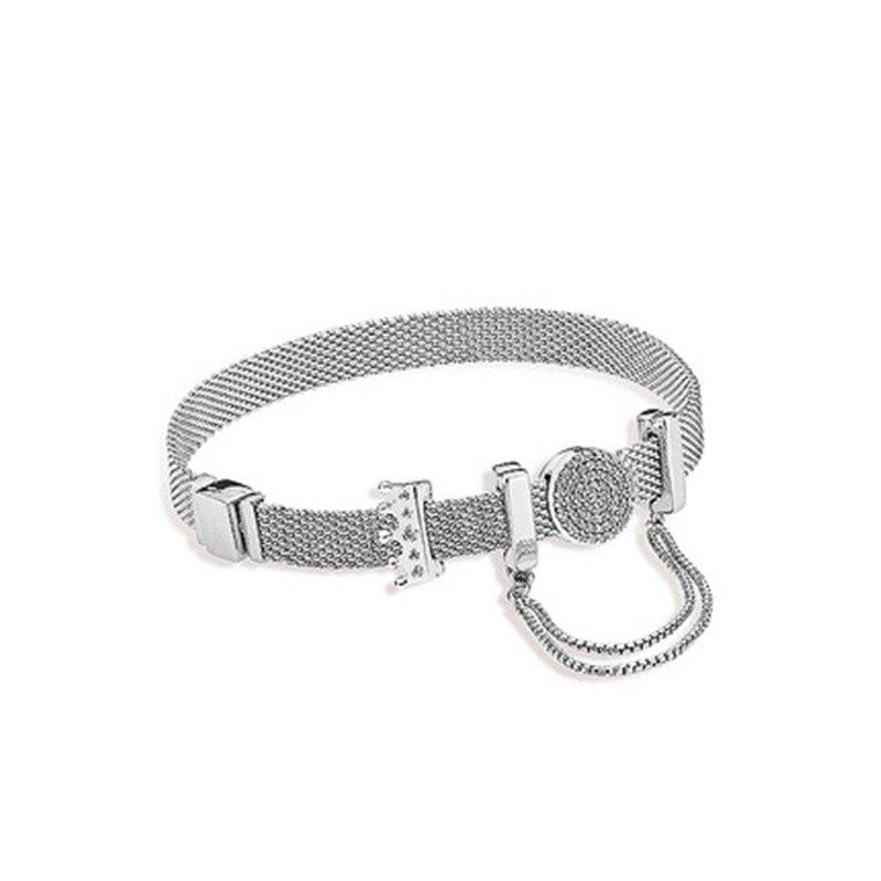 Браслет из стерлингового серебра 925 пробы с короной, набор оригинальных моментов, рефлексивный браслет с цепочкой, женский браслет с зажимо...