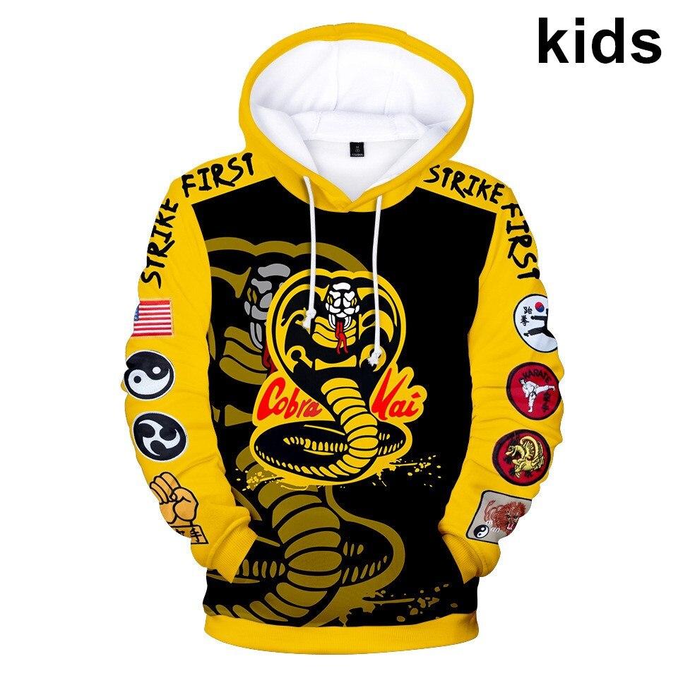 2 To 14 Years Kids Hoodies The Karate Kid Cobra Kai 3d Print Hoodie Sweatshirt Boys Girls fashion Harajuku Jacket Child Clothes