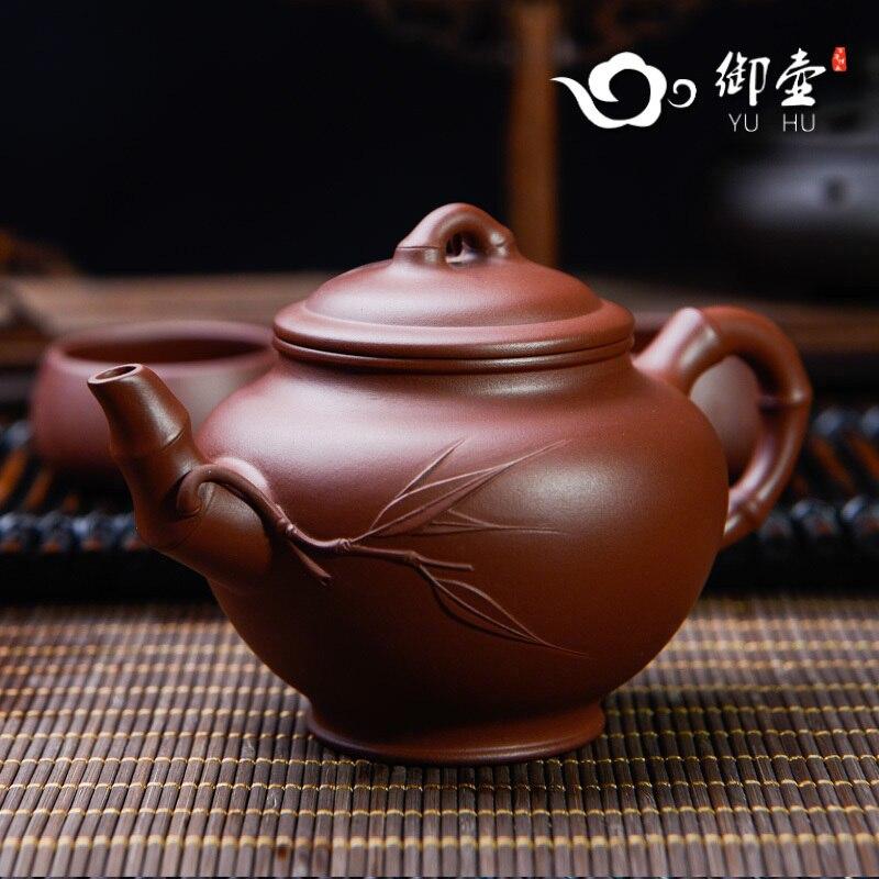 Real de Yixing Recomendado por Autêntico Bule de Bambu Pote Puro Manual Minério Despido Qing Cimento Bambu