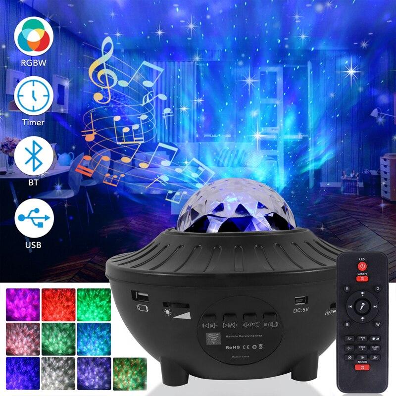 الملونة السماء المرصعة بالنجوم غالاكسي العارض ضوء بلوتوث USB التحكم الصوتي مشغل موسيقى LED ليلة ضوء الإسقاط مصباح هدية