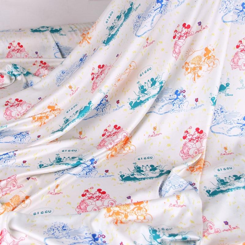 Tela satinada de seda de imitación de poliéster de Mickey Minie para niñas, vestidos de verano, camisa de pijama y pantalones, DIY-BF157 de costura