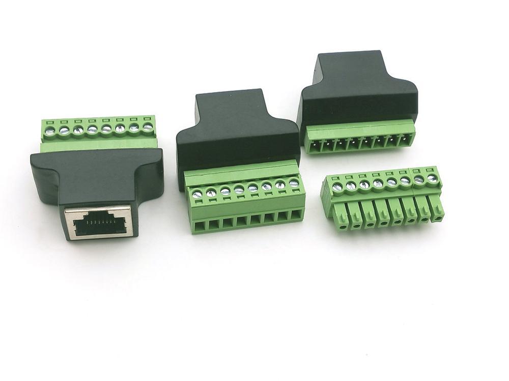 5 pces ethernet rj45 fêmea para parafuso terminal 8 pinos cctv digital dvr adaptador conector