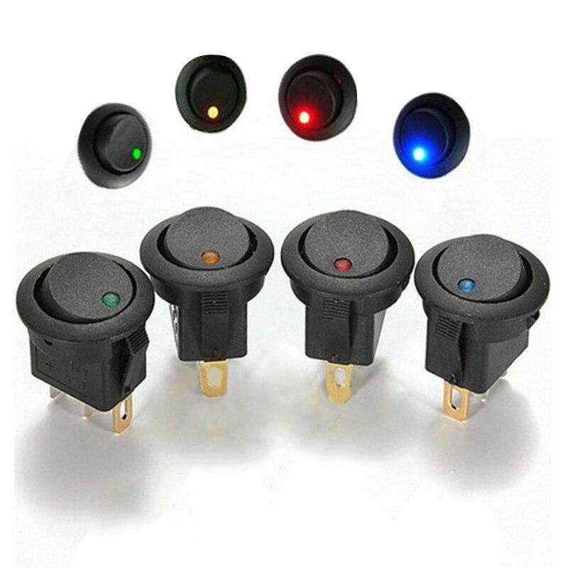 10pcs 12V 16A 3 Pin Rodada Rocker Switch ON/OFF Switch com Azul/Verde/Amarelo/Vermelho LED Luz Universal Para Carro Van Barco