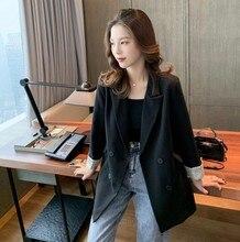 Coréen en vrac décontracté noir femmes Blazers vestes vêtements de travail manteau nouvelle mode femmes manches longues cranté Double boutonnage veste