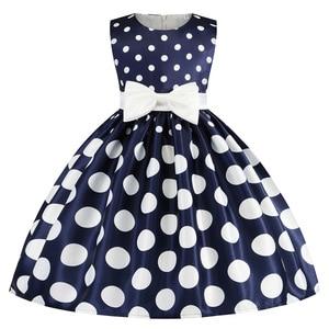 2021 Dot Print Kids Dress For Girls White Bow Princess Children Dresses Costume Wedding Party Dress Vestidos for 2-9 Years