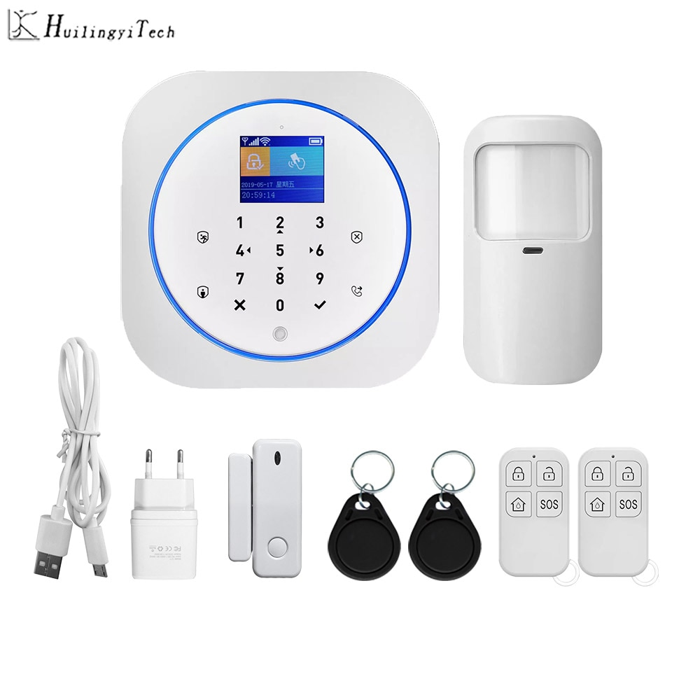 Tuya Wifi Gsm Home Security System 433MHz App Control LCD Touch Keyboard 11 Languages Wireless Alarm Kit Huilingyitech