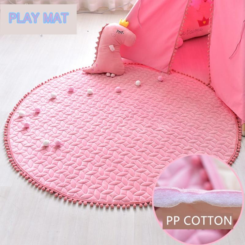 Tapete para bebé, juego redondo, manta, casa de juegos interior, alfombra para niños, suelo estera de juego para niños, Color rosa