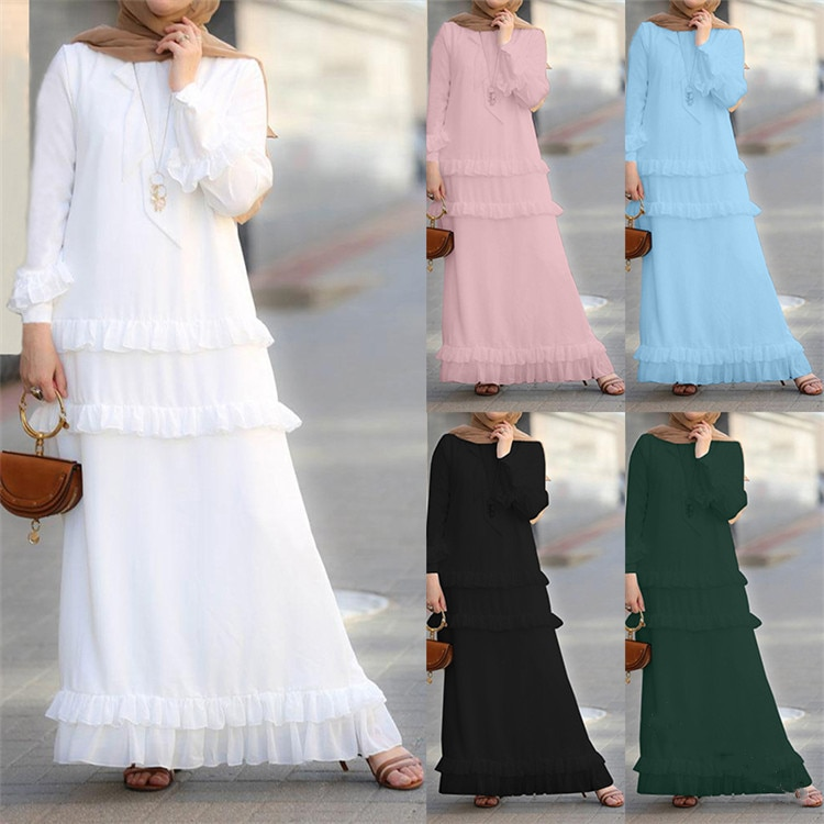 Mujeres musulmana larga túnica Abaya caftán de Dubái Maxi vestido turco Kaftan islámico ropa Ramadan árabe vestido hijab