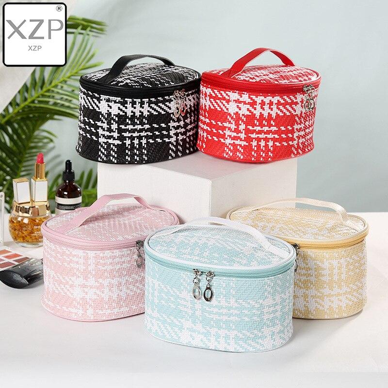 Xzp pu tecido costura feminina saco cosmético multifuncional zíper feminino saco cosmético senhoras durável lavagem bolsa caixa de maquiagem