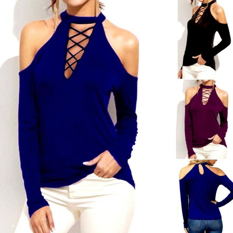 Womens Long Sleeve Casual Halter Strapless chest cross strap Tops Ladies Cold Shoulder Chocker Neck Slim T Shirt Blouse Summer