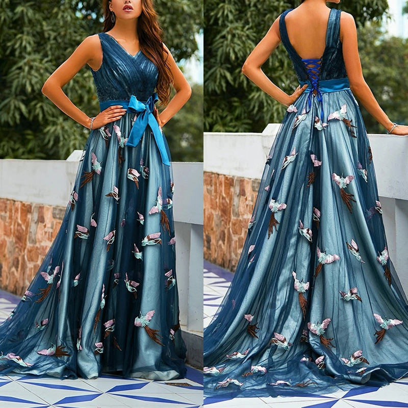2021 Summer New Arrival Ladies Dress Casual Brand Sexy Mesh Embroidery V-Neck Halter Elegant Evening