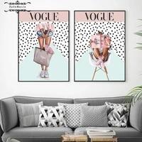 Vogue Style mode fille Art toile peinture sur le mur nordique affiches et impressions photos pour salon moderne decor a la maison