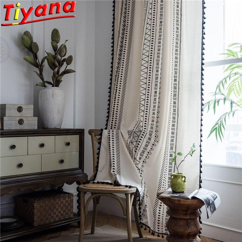 البوهيمي هندسية الكتان الستائر لغرفة المعيشة الحديثة شرابات الستائر شبه تعتيم الأبيض نافذة الستائر * VT