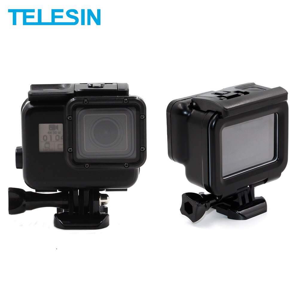 TELESIN 45M impermeable funda carcasa negra subacuática con pantalla táctil LCD Backdoor cubierta para GoPro Hero 7 Hero 6 Hero 5