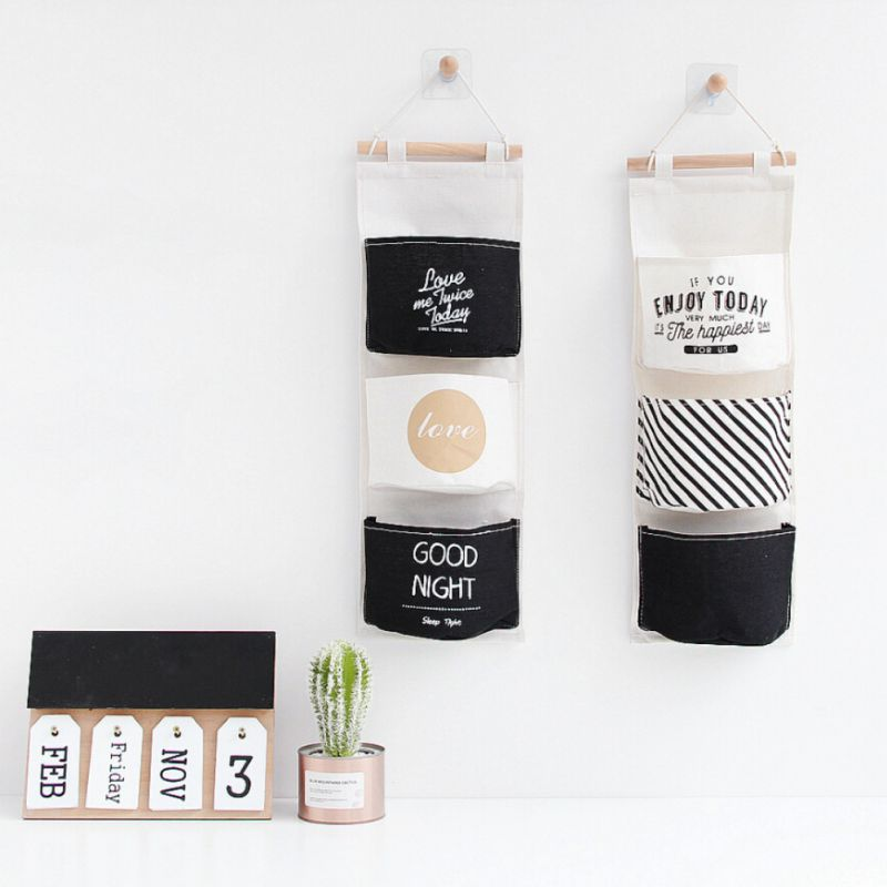 3 Pockets Hanging Storage Bag Wall Mounted Wardrobe Sundries Hanging Bag Container Fabric Cotton Pouch Home Closet Organizer