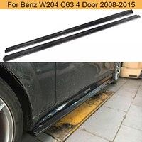Car Bumper Side Skirts For Mercedes Benz C Class W204 C63 2008-2015 Door Bumper Side Skirts Body Kits Carbon Fiber