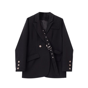 SuperAen Black Small Suit 2020 Autumn New Design Solid Notched Casual Loose Jacket Women Blazers