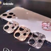 ankndo camera lens protector diamond lens film rhinestone glitter crystal case for iphone 12 pro max lens sticker screen cover
