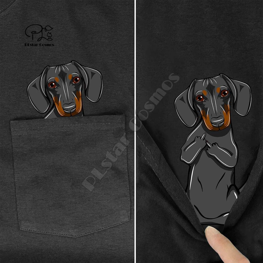 BDachshundMiddleHand In Pocket T Shirt Dog Lovers Black Cotton Men Made in USA Cartoon t shirt men U