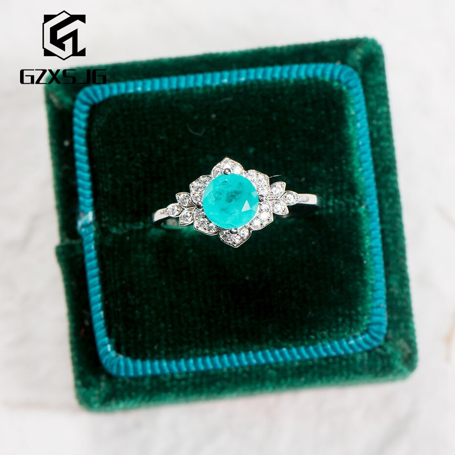 GZXSJG, anillo de piedras preciosas de turmalina Paraiba para mujeres, sólida plata 925, piedra japonesa, anillo de compromiso hecho a mano, talla 10