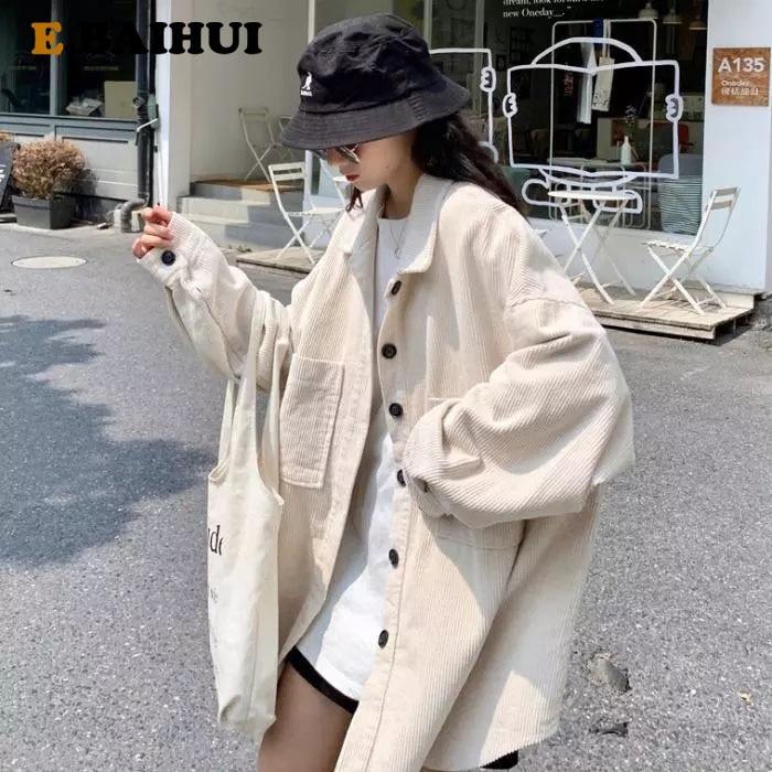 Куртка EBAIHUI Женская Вельветовая, повседневная верхняя одежда, Однотонная рубашка оверсайз в стиле Bf, на весну-осень   Женская одежда   АлиЭкспресс