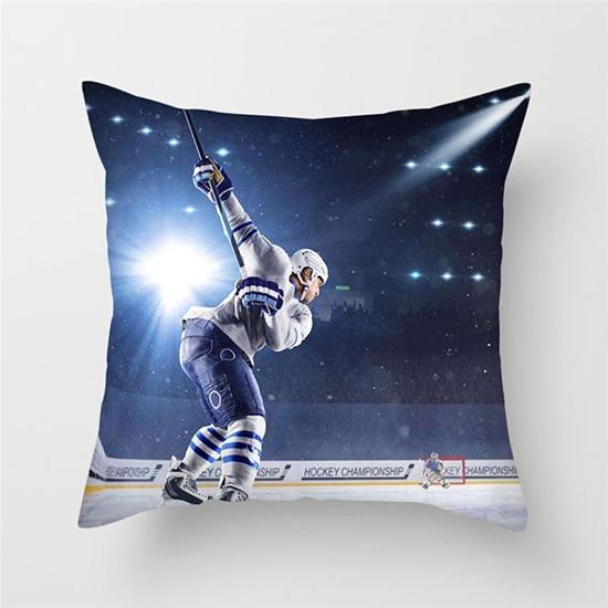 Fuwatacchi, cojines con diseño de hielo para la nieve, funda de cojín de estilo deportivo de Hockey, fundas de almohada con estampado de atleta, cubre las almohadas decorativas para sofá y coche