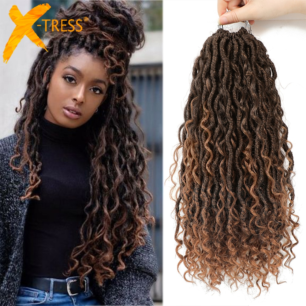 aliexpress.com - Synthetic Crochet Braids Hair Passion Twist River Goddess Braiding Hair Extension Ombre Brown Faux Locs With Curly Hair X-TRESS