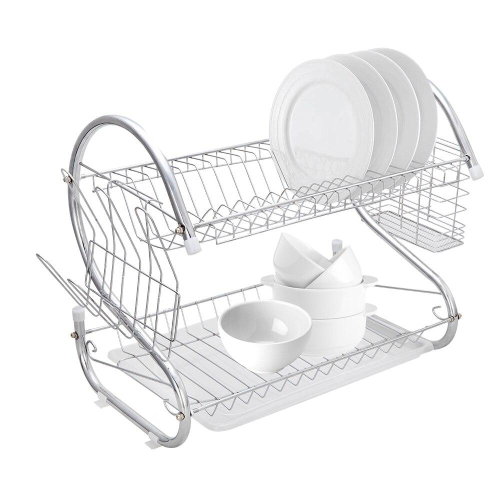 متعددة الوظائف على شكل حرف S طبقات مزدوجة الأطباق والأطباق وعيدان الطعام والملاعق جمع رف تجفيف الأطباق