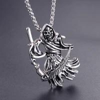 grim reaper death skull men necklaces pendants chain punk for boyfriend male stainless steel jewelry creativity gift wholesale