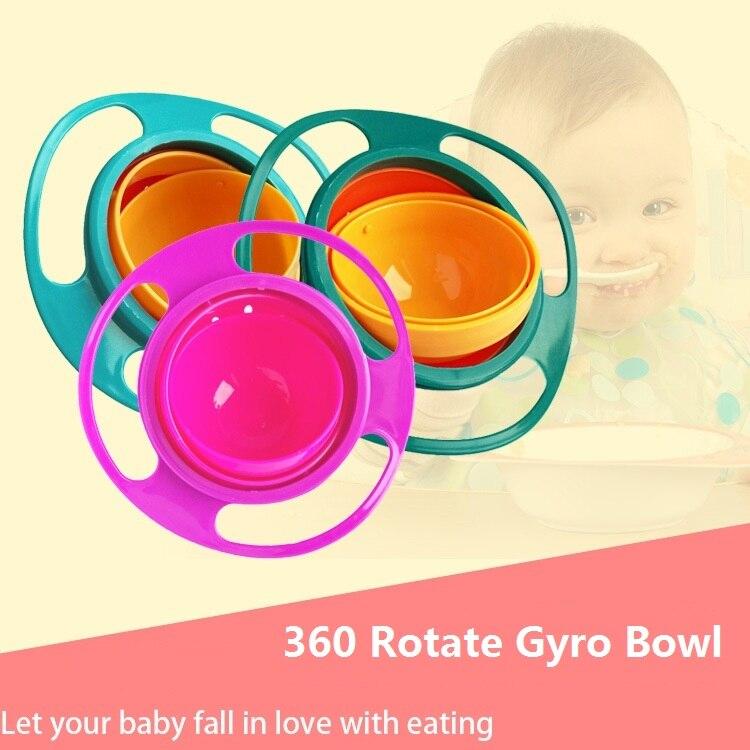 Universal Gyro tazón 360 rotar diseño práctico niños Balance rotativo novedad Gyro paraguas a prueba de derrames de alimentación platos